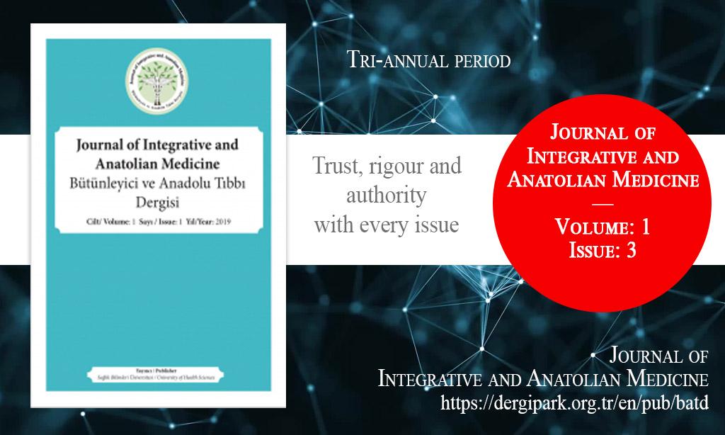 BATD, Kasım 2020 – Bütünleyici ve Anadolu Tıbbı Dergisi, Yıl: 2020, Cilt: 1, Sayı: 3, Yayın Tarihi: 2 Kasım 2020