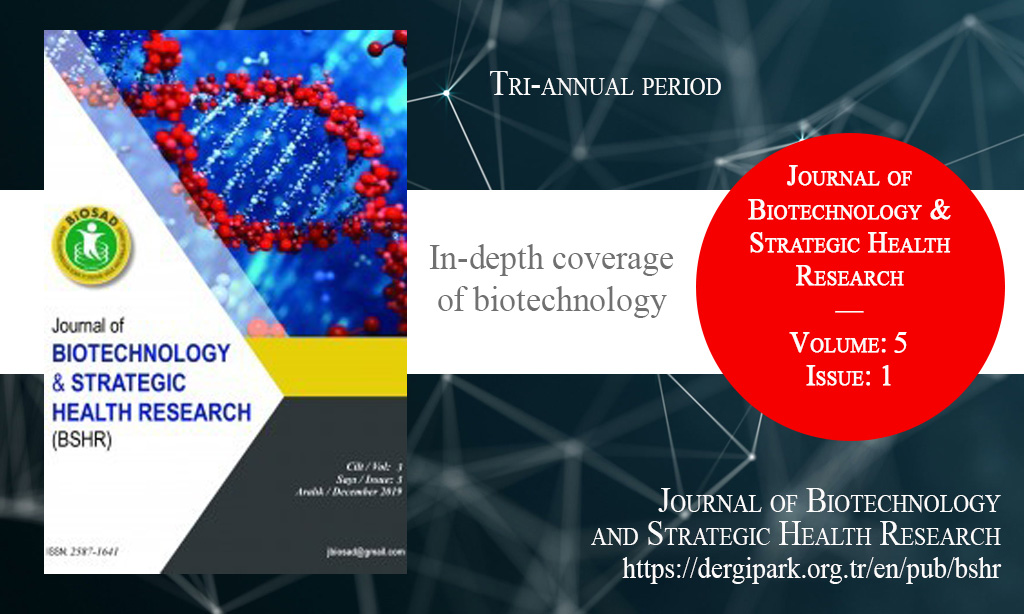 BSHR, Nisan 2021 – Biyoteknolojik ve Stratejik Sağlık Araştırmaları Dergisi, Yıl: 2021, Cilt: 5, Sayı: 1, Yayın Tarihi: 30 Nisan 2021